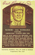 Autographs:Post Cards, Circa 1976 Cal Hubbard Twice Signed Gold Hall of Fame Plaque. Theonly man enshrined in both the Football and Baseball Hall...