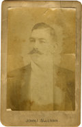 Boxing Cards:General, 1880s John L. Sullivan Cabinet Card. Enduring portrait image of the Boston Strongboy, whose calm demeanor here belies his s...