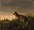 19th Century European:Sporting, CARL OSWALD ROSTOSKY (German, 1839-1868). Fox in aLandscape, 1862. Oil on canvas. 15-1/4 x 17-1/2 inches (38.7 x44.5 c...