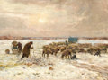 Fine Art - Painting, European:Antique  (Pre 1900), CLAUDE HAYES (British, 1852-1922). Shepherds and their Flock inWinter. Oil on canvas. 30-1/8 x 40 inches (76.5 x 101.6 ...