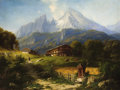 Fine Art - Painting, European:Antique  (Pre 1900), WILLIBALD WEX (German, 1831-1892). An Alpine Farm, 1871. Oilon canvas. 34 x 45 inches (86.4 x 114.3 cm). Signed lower l...
