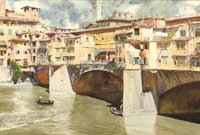 DONALD TEAGUE (American, 1897-1991) View of Ponte Vecchio Watercolor on paper 19 x 28-1/4 inches