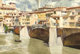 DONALD TEAGUE (American, 1897-1991) View of Ponte Vecchio Watercolor on paper 19 x 28-1/4 inches (48.3 x 71.8 cm) S