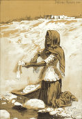 Fine Art - Painting, American:Antique  (Pre 1900), FREDERIC REMINGTON (American, 1861-1909). Mexican WomanWashing, 1890. Gouache and ink on cardboard. 18 x 13 inches(45....