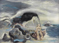 Fine Art - Painting, American:Modern  (1900 1949)  , THOMAS DUNCAN BENRIMO (American, 1887-1958). Nymph by theSea. Oil on board. 14 x 17 inches (35.6 x 43.2 cm). Signedlow...