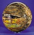Fossils:Paleobotany (Plants), EXTREMELY LARGE AND COLORFUL PETRIFIED WOOD SPHERE. ...