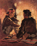 Western:20th Century, WARREN ELIPHALET ROLLINS (American, 1861-1962). Campfire Chat. Oil on canvas. 21-1/2 x 17-1/2 inches (54.6 x 44.5 cm). S...