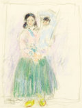 Fine Art - Painting, American:Modern  (1900 1949)  , LEON GASPARD (American, 1882-1964). Taos Mother and Child.Color crayon and pencil on paper. 8-1/8 x 6-1/8 inches (20.6 ...