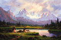 Fine Art - Painting, American:Contemporary   (1950 to present)  , HEINIE HARTWIG (American, b. 1939). Jackson Hole Sunset. Oilon board. 24 x 36 inches (61.0 x 91.4 cm). Signed lower le...