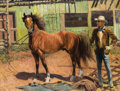 Fine Art - Painting, American:Modern  (1900 1949)  , ROBERT WESLEY AMICK (American, 1879-1969). At the Stables.Oil on canvas. 28 x 36 inches (71.1 x 91.4 cm). Signed lower ...