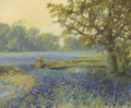 Fine Art - Painting, American:Modern  (1900 1949)  , FRANZ STRAHALM (American, 1879-1935). Field withBluebonnets. Oil on canvas. 18 x 22 inches (45.7 x 55.9 cm).Signed low...
