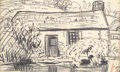 Fine Art - Painting, American:Modern  (1900 1949)  , OSCAR FLORIANUS BLUEMNER (American, 1867-1938). Farm House in aLandscape, October 6, 1911. Conte crayon on paper. 5 x 8...