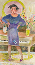 Fine Art - Painting, American:Contemporary   (1950 to present)  , WILLIAM THOMAS LUMPKINS (American, 1909-2000). Woman at thePiano, 1985. Watercolor and pencil on paper. 41 x 22-1/2 inc...