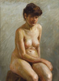 Fine Art - Painting, European:Modern  (1900 1949)  , FRENCH SCHOOL (20th Century) . Portrait of a Seated Nude.Oil on canvas. 42 x 39-1/2 inches (106.7 x 100.3 cm). ...