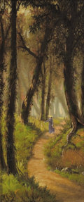 Paintings, JOSEPH RUSLING MEEKER (American, 1827-1889). Through the Woods, 1880. Oil on canvas. 20 x 9-1/4 inches (50.8 x 23.5 cm)...