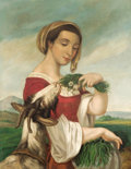 Latin American:pre-20th Century, JUAN CORDERO (Mexican, 1822-1884). Portrait of a Woman with aGoat. Oil on canvas. 29-1/2 x 23-1/8 inches (74.9 x 58.7 c...