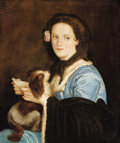 Latin American:pre-20th Century, JUAN CORDERO (Mexican, 1822-1884). Portrait of a Woman with aLetter and Dog. Oil on canvas. 28-3/4 x 24 inches (73.0 x ...