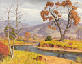 Fine Art - Painting, American:Contemporary   (1950 to present)  , FRED DARGE (American, 1900-1978). Autumnal Landscape withRiver. Oil on canvas. 30 x 40 inches (76.2 x 101.6 cm).Signed...