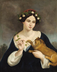 JUAN CORDERO (Mexican, 1822-1884) Portrait of a Woman with a Cat and Ivy Oil on canvas 29 x 23-1/