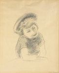 Works on Paper, YASUO KUNIYOSHI (Japanese, 1889-1953). Girl with Hat, circa 1930. Pencil on paper. 16-3/4 x 13-3/4 inches (42.5 x 34.9 c...
