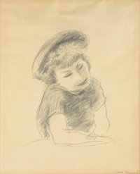 YASUO KUNIYOSHI (Japanese, 1889-1953) Girl with Hat, circa 1930 Pencil on paper 16-3/4 x 13-3/4 i