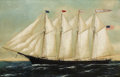 "Fine Art - Painting, American:Antique  (Pre 1900), Attributed to WILLIAM PIERCE STUBBS (American, 1842-1909). AFour Mast Schooner ""King Philip"". Oil on canvas. 25 x 38 in..."