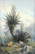 Texas:Early Texas Art - Regionalists, DALHART WINDBERG (American, b. 1933). Untitled, Landscape withCactus Flower, 1968. Oil on artist's board. 30 x 20 inche...
