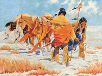FRANK D. MILLER (American, 20th century) Indian Scouts Oil on canvas 26 x 35 inches (66.0 x 88.9