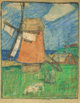 BROR JULIUS OLSSON NORDFELDT (American, 1878-1955) Dutch Windmill Pastel on brown paper 23-1/2 x 17-3/4 inches (59.7