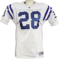 1998 Marshall Faulk Game Worn Jersey. Road white mesh gamer is one of the last worn by this superstar running back in se...