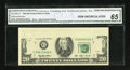 Error Notes:Missing Face Printing (<100%), Fr. 2080-G $20 1993 Federal Reserve Note. CGA Gem Uncirculated 65.....