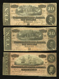 Confederate Notes:1864 Issues, T67 $20 1864 VF, tears. T68 $10 1864. Two Examples. Fine.. ... (Total: 3 notes)
