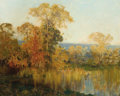 Fine Art - Painting, American:Modern  (1900 1949)  , AMERICAN SCHOOL (20th Century). Autumnal Landscape withLake. Oil on canvas. 48 x 60 inches (121.9 x 152.4 cm). ...
