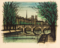 BERNARD BUFFET (French, 1928-1999) Bridge in Paris Color lithograph 18-3/4 x 22-3/4 inches (47.6