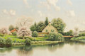 Fine Art - Painting, American:Modern  (1900 1949)  , GEORGE W. DREW (American, 1875-1968). Cottages on the Pond.Oil on canvas. 24 x 36 inches (61.0 x 91.4 cm). Signed lower...