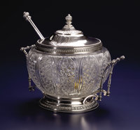 A RUSSIAN CUT GLASS AND SILVER PUNCH BOWL WITH LID AND LADLE Andrei Stepanovich Bragin, St. Petersburg, Russia, ci