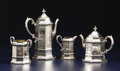 Silver Holloware, British:Holloware, A VICTORIAN SILVER FOUR-PIECE TEA SET. Joseph and John Angell,London, England, 1843-1844. Silver and silver gilt. Marks: (l...(Total: 4 Items)