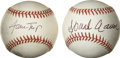 Autographs:Baseballs, Hank Aaron and Willie Mays Single Signed Baseballs Lot of 2. Two ofthe most popular baseball players of all time have adde...