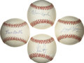 Autographs:Baseballs, Hall of Fame Pitchers Single Signed Baseballs Lot of 4. Finequartet of official singles each has been signed on the sweet ...