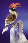 Lapidary Art:Carvings, EXOTIC GREAT HORNBILL ON QUARTZ CRYSTAL BASE. ...