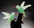 Lapidary Art:Carvings, CHRYSOPRASE HUMMINGBIRD COUPLE ON TOURMALINE BASE. ... (Total: 2Items)