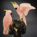 Lapidary Art:Carvings, ROSE QUARTZ COCKATOO COUPLE ON TOURMALINE QUARTZ BASE. ... (Total:2 Items)