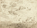 Prints:European Modern, JAMES ENSOR (Belgian, 1860-1949). Les Vents, 1888. Etching.7-1/8 x 9-3/8 inches (18.1 x 23.8 cm). Signed lower right in...