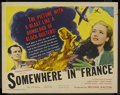 "Movie Posters:War, Somewhere in France (United Artists, 1943). Half Sheet (22"" X 28"").War Drama. Starring Constance Cummings, Robert Morley, T..."