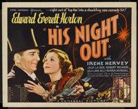 "His Night Out (Universal, 1935). Half Sheet (22"" X 28""). Comedy. Starring Edward Everett Horton, Irene Hervey..."