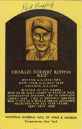 Autographs:Post Cards, Red Ruffing Signed Gold Hall of Fame Plaque. A splendid postseasonace for the New York Yankees, Red Ruffing won seven of h...