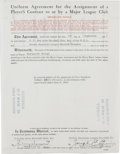Autographs:Others, 1953 Player Contract Signed by Joe Cronin and Jerry Donovan.Exceptional 1953 contract securing the services of Richard Keo...