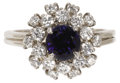 Estate Jewelry:Rings, Sapphire, Diamond, Platinum Ring. The ring centers a round-cut sapphire measuring 5.60 - 5.50 x 3.90 mm and weighing appro...