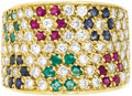 Estate Jewelry:Rings, Diamond, Ruby, Emerald, Sapphire, Gold Ring. The ring featuresfull-cut diamonds weighing a total of approximately 1.00 ca...