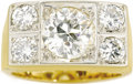 Estate Jewelry:Rings, Gentleman's Diamond, Platinum-Topped Gold Ring. The ring centersone European-cut diamond measuring 9.75 x 9.45 x 5.95 mm ...